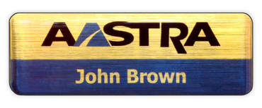 Borderless plastic name badges - Black edge and brushed gold / blue background | www.namebadgesinternational.co.uk